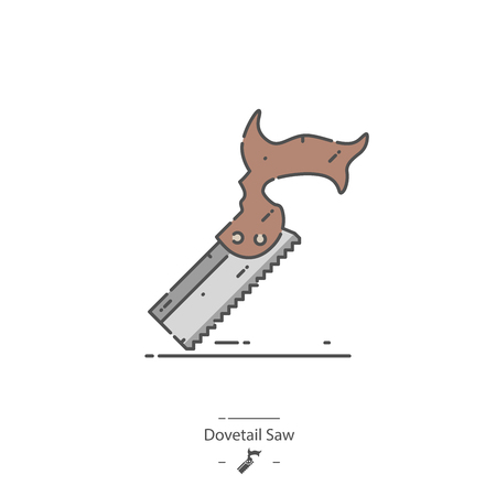 Dovetail saw - Line color icon
