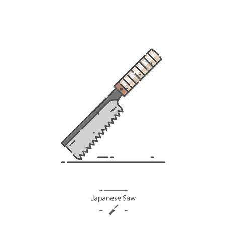 Japanese saw - Line color icon Illustration