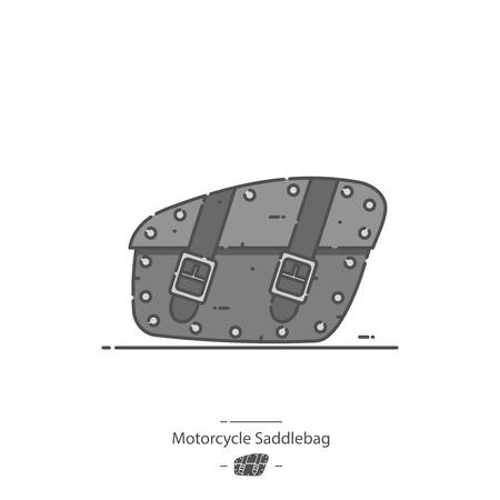 Motorcycle saddlebag - Line color icon Illustration