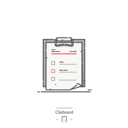 Clipboard - Line color icon Illustration