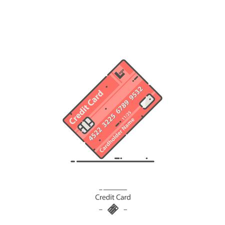 Credit card - Line color icon Иллюстрация