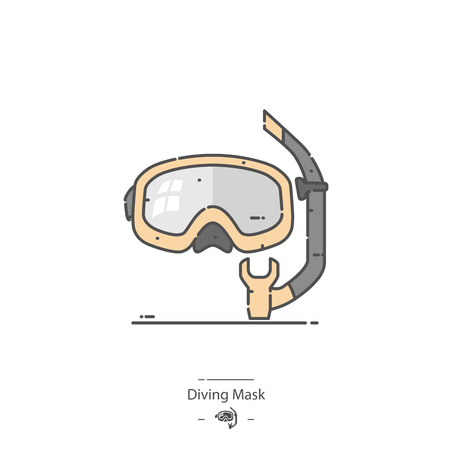 Diving mask - Line color icon