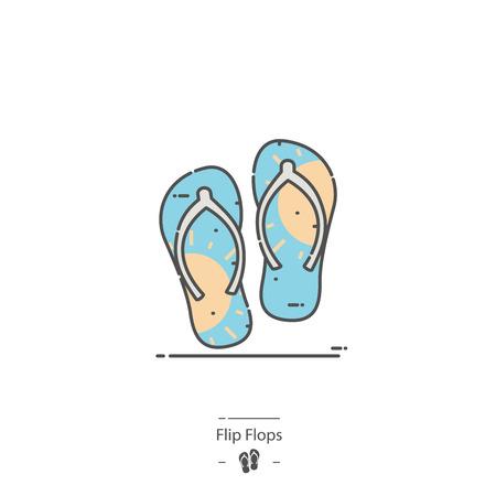 Flip flops - Line color icon Illustration