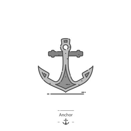 Anchor - Line color icon Illustration