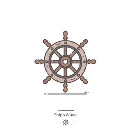 Ships wheel - Line color icon Иллюстрация