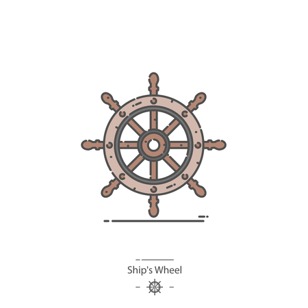 Ships wheel - Line color icon Illustration