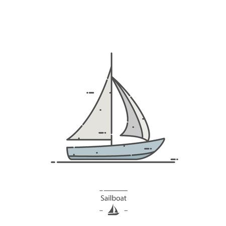 Sailboat - Line color icon
