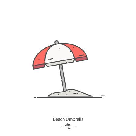 Beach umbrella - Line color icon