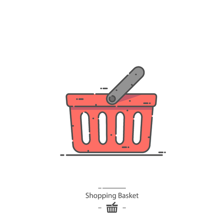Shopping basket - Line color icon