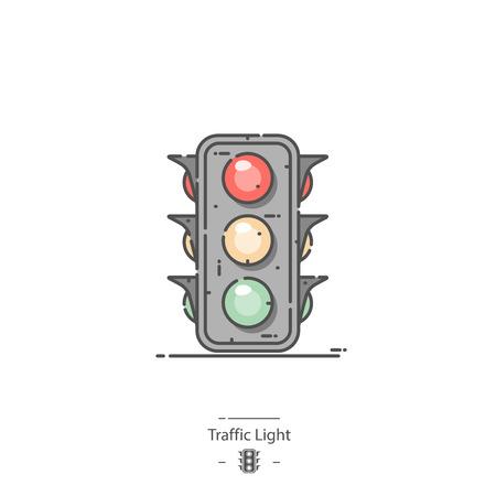 Traffic light - Line color icon
