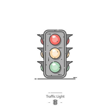 Traffic light - Line color icon