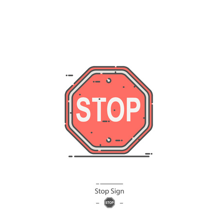 Stop sign - Line color icon