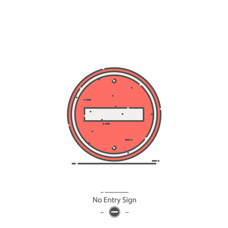 No entry sign - Line color icon Stock Vector - 126179895
