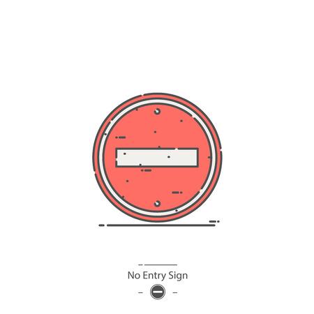 No entry sign - Line color icon