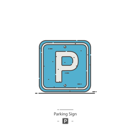 Parking sign - Line color icon 矢量图像