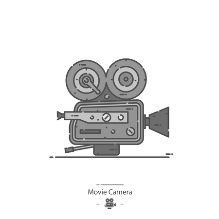 Movie camera - Line color icon