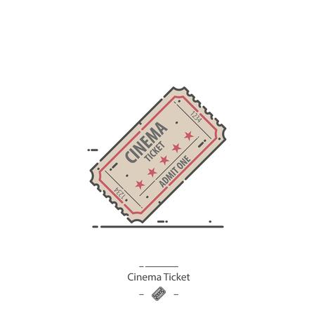 Cinema ticket - Line color icon