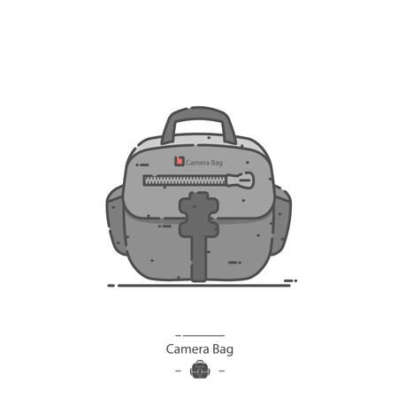 Camera bag - Line color icon 矢量图像