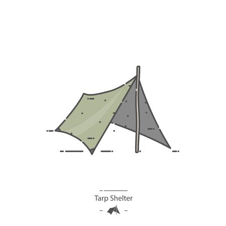 Tarp shelter - Line color icon