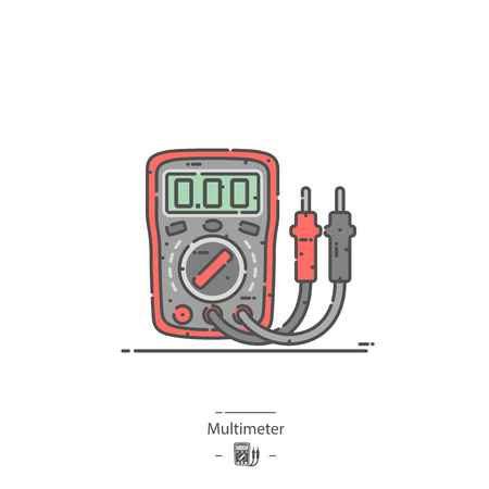 Multímetro digital - Icono de color de línea Ilustración de vector