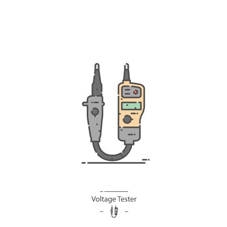 Voltage tester - Line color icon Illustration