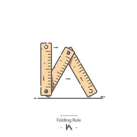 Folding rule - Line color icon Illustration