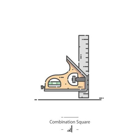 Combination square - Line color icon Illustration