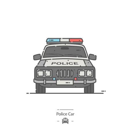Police car - Line color icon