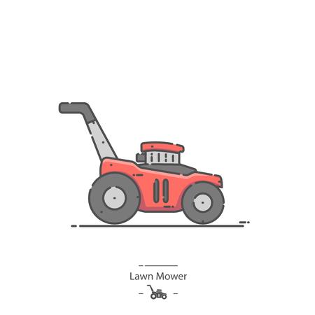 Lawn mower - Line color icon 矢量图像