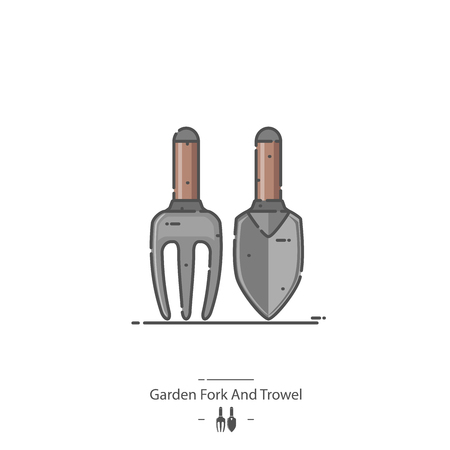 Garden Fork And Trowel - Line color icon