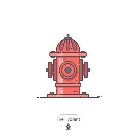 Fire Hydrant - Line color icon 矢量图像