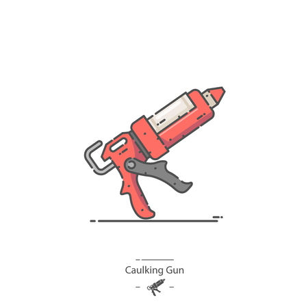 Caulking Gun - Line color icon 일러스트