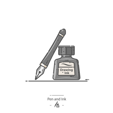 Pen and Ink - Line color icon Illustration
