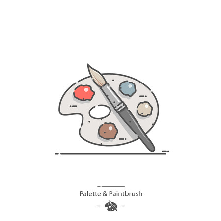 Palette and Paintbrush - Line color icon Stock Vector - 126180124