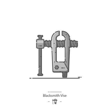 Blacksmith Vise - Line color icon 矢量图像