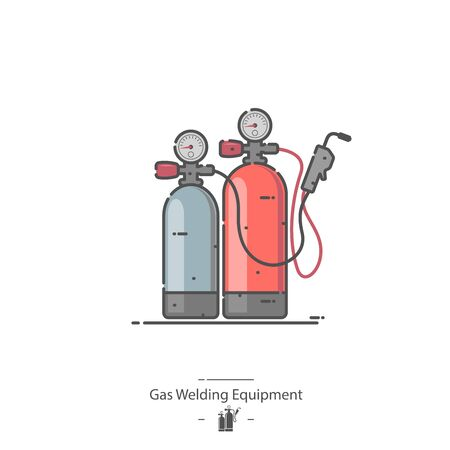Oxy-fuel welding and cutting - Line color icon Illustration