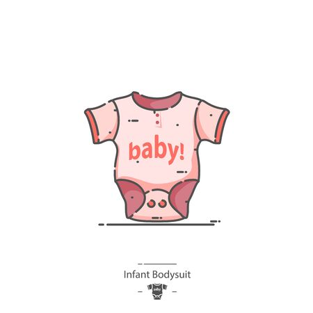 Infant Bodysuit - Line color icon 免版税图像 - 126180211