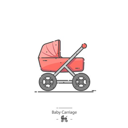 Baby Carriage - Line color icon 免版税图像 - 126180212