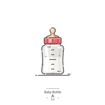 Baby Bottle - Line color icon Illustration