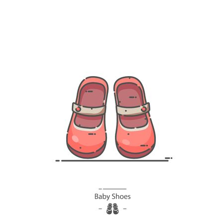 Baby Shoes - Line color icon 免版税图像 - 126180218