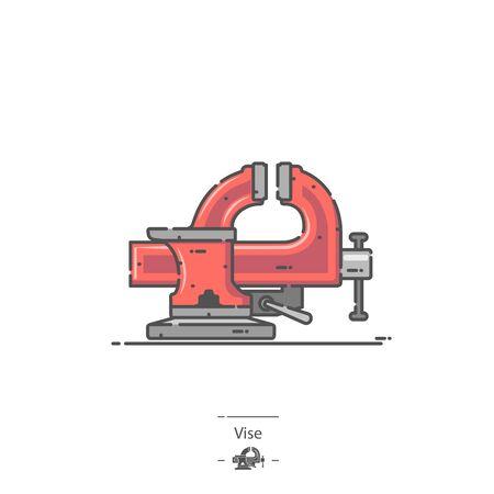 Tornillo de banco rojo - Icono de color de línea Ilustración de vector