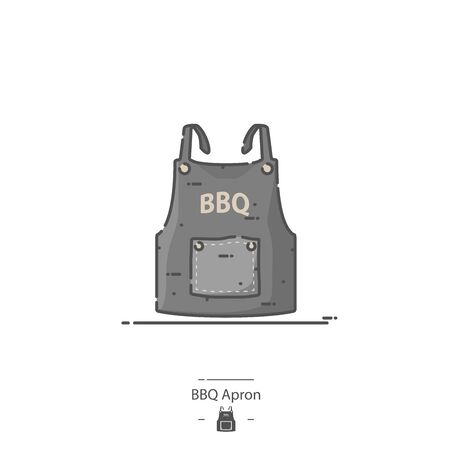 Black BBQ Apron - Line color icon