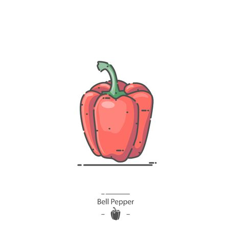Red Bell Pepper - Line color icon