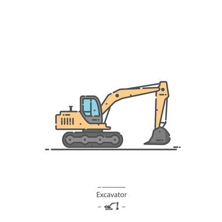 Excavator - Line color icon Çizim