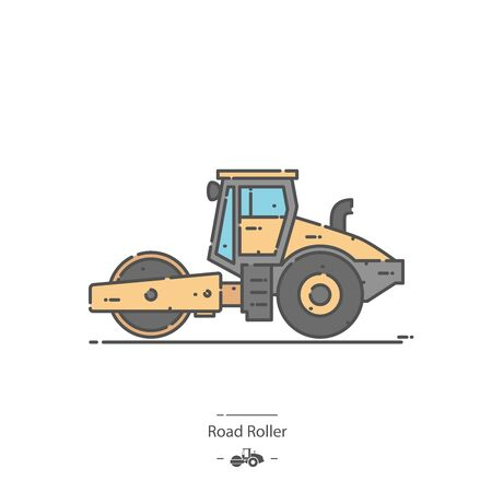 Road Roller - Line color icon 免版税图像 - 132235162