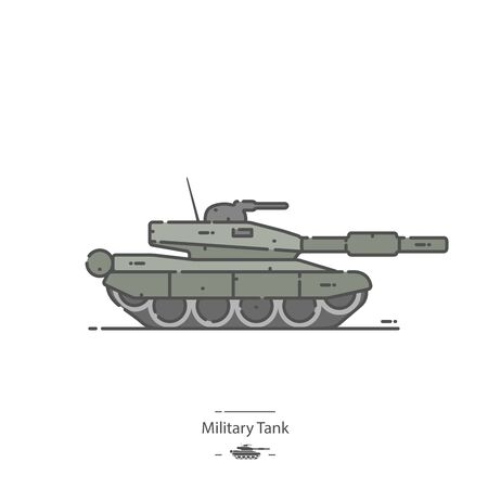 Military Tank - Line color icon