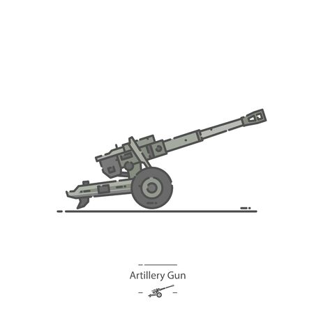 Artillery Gun - Line color icon
