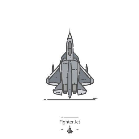 Avion de chasse - icône de couleur de ligne