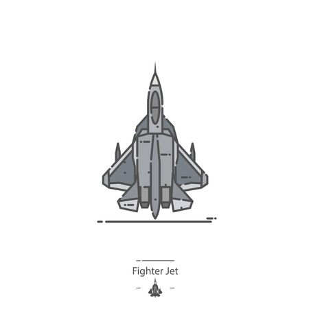 Fighter Jet - Line color icon 일러스트