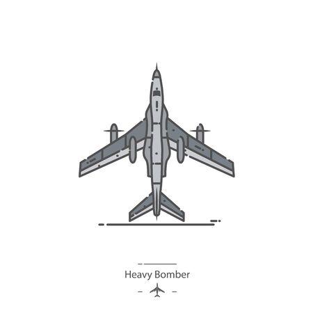 Heavy Bomber - Line color icon 免版税图像 - 133235931